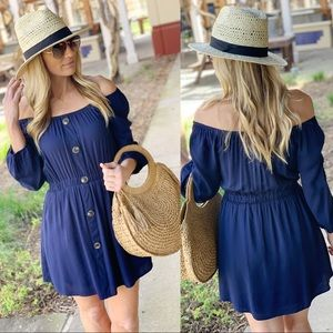 ✨LAST ONE✨Navy Off Shoulder Button Front Dress